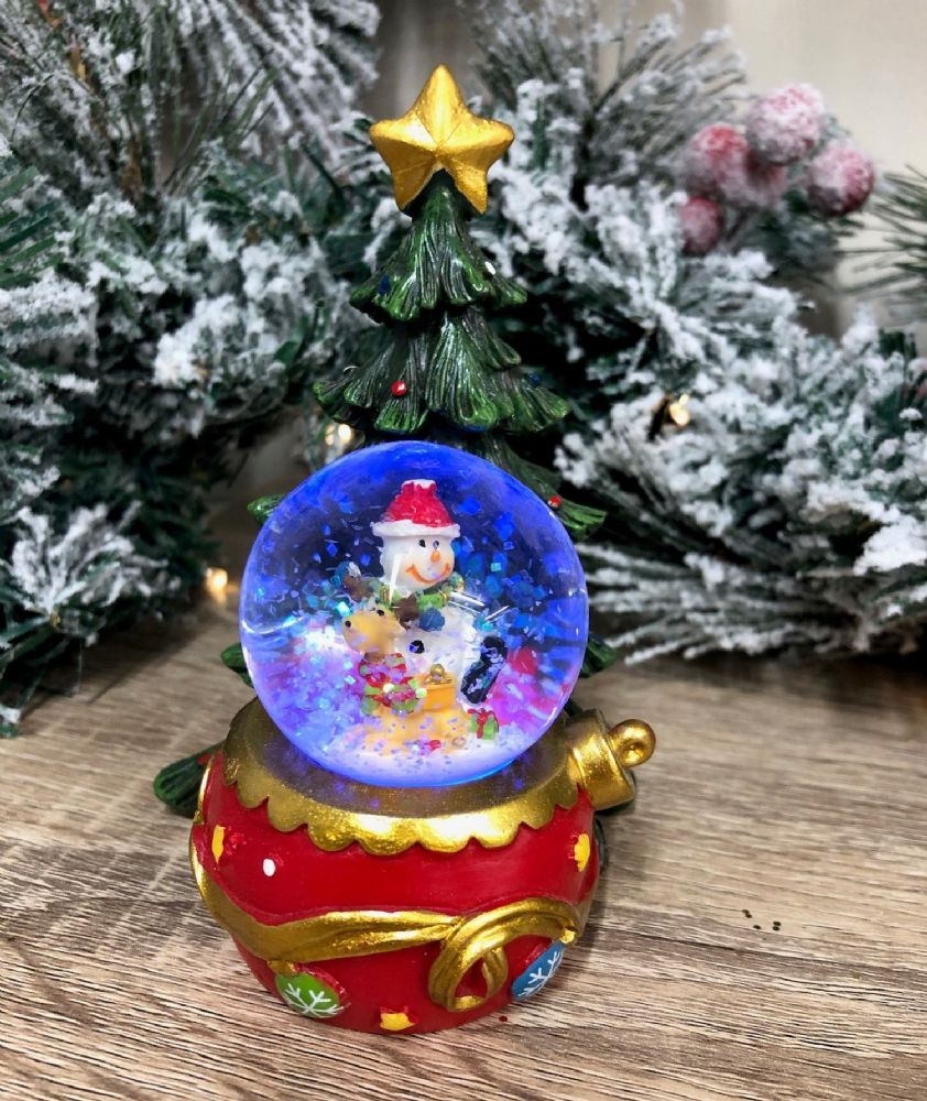 Colour Changing LED Snowman & Reindeer Snow Globe with Christmas Tree